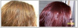 Deep red before and after Harvest Moon hair dye