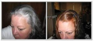 Copper brown henna hair dye on gray hair